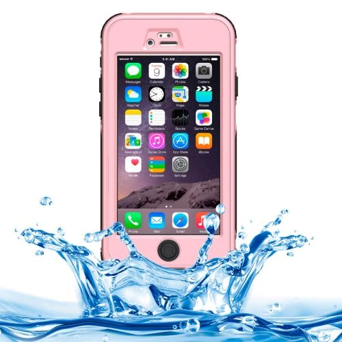 ABS Material Waterproof Protective Case with Button & Touch Screen Function for iPhone 6 Plus(Pink)