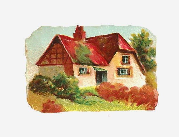 Antique Images Free Digital House Clip Art Graphic Of Country Cottage With Red Roof