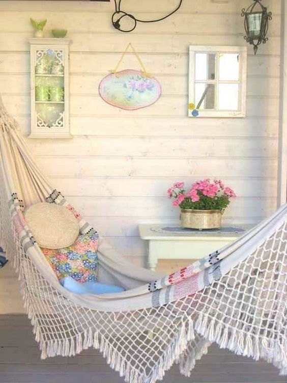 Shabby Chic Patio With Romantic Hammock