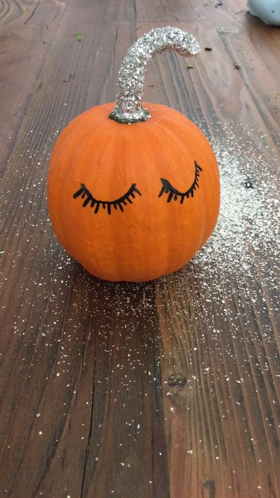 No Carve Glitter Pumpkin