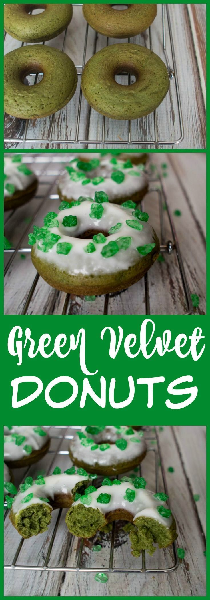 Green Velvet Donuts with Cream Cheese Frosting for St. Patrick's Day! These Green Velvet donuts are a nice twist on classic Red Velvet.