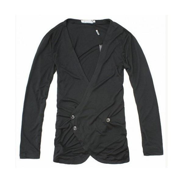 Men Fashion Long Sleeve Easy Matching Simple Black Cotton Cardigan... ($20) via Polyvore