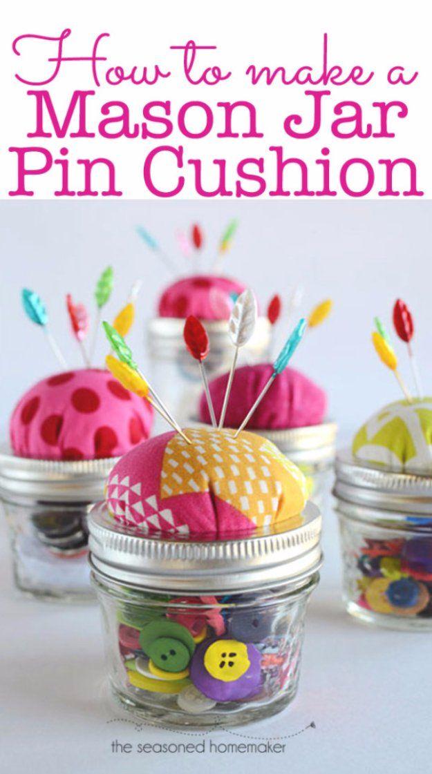 Easy Crafts To Make and Sell - Mason Jar Pin Cushion - Cool Homemade Craft Projects You Can Sell On Etsy, at Craft Fairs, Online and in Stores. Quick and Cheap DIY Ideas that Adults and Even Teens Can Make http://diyjoy.com/easy-crafts-to-make-and-sell