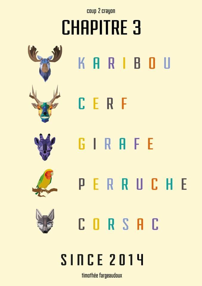 // Chapitre 3 //  #karibou #karibu #cerf #deer #girafe #giraffe #perruche #parakeet  #corsac #animal #animals #animaux #graphisme #vectoriel