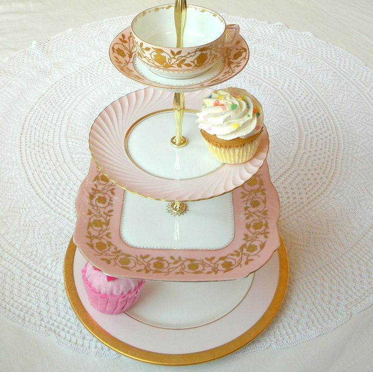 Alice & the Gold Key, Large 4-Tier Cupcake Stand - Pastel Pale Pink Vintage China for Mini Wedding Cakes, Cookies, Dessert Display, High Tea. $225.00, via Etsy.