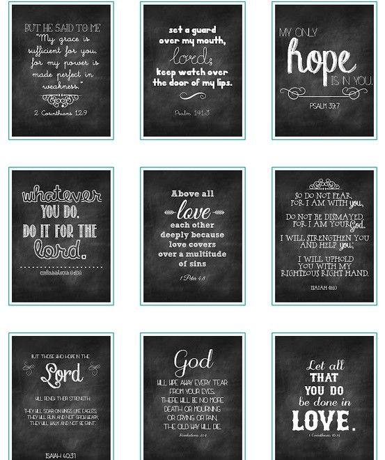 Free printable Chalk Verses  Beautiful Mess. pin now print later