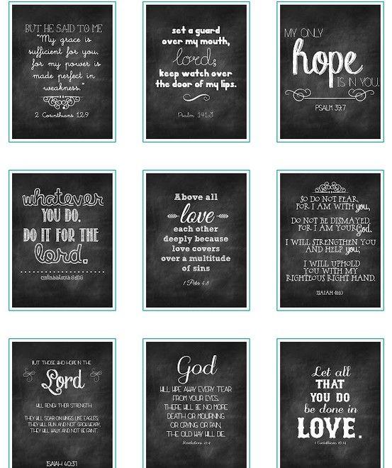 Free printable Chalk Verses  Beautiful Mess. pin now print later