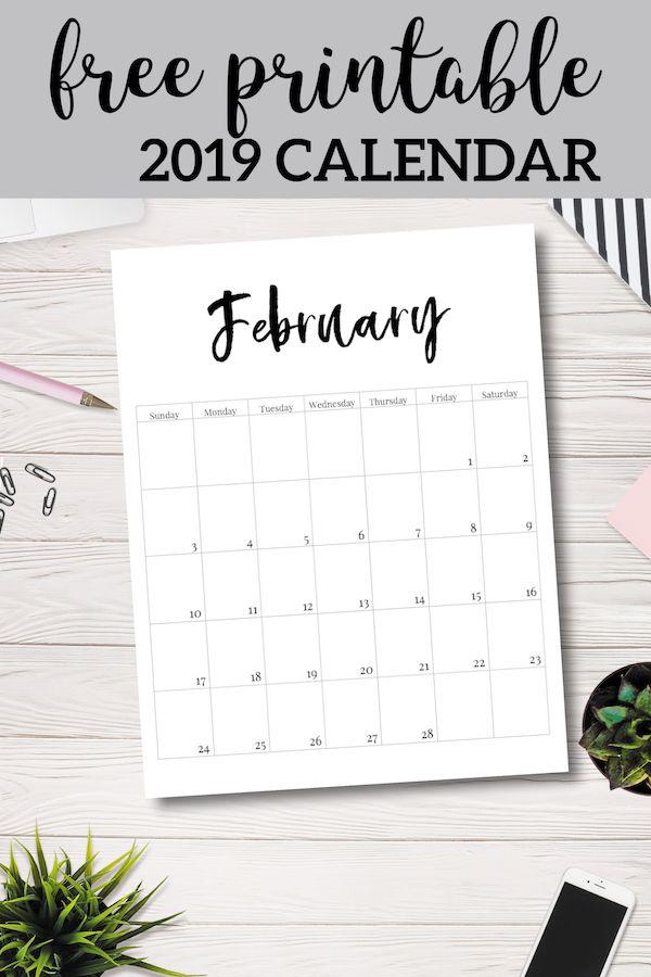 Free Printable 2019 Calendar Template Pages Printables Pinterest
