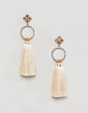 5a7e5ae5946 River Island drop tassel earrings in ivory
