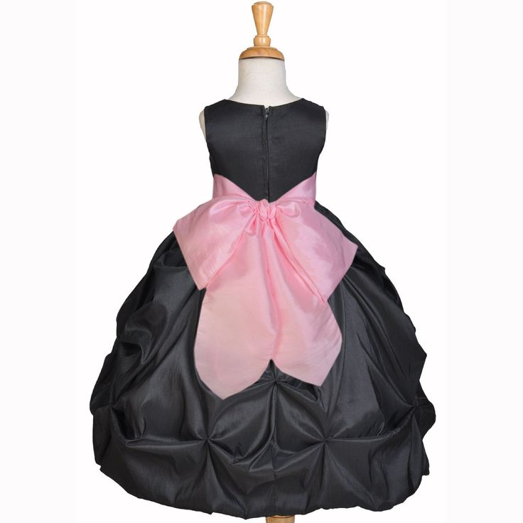 Black Bubble Taffeta Formal Bridesmaid Beauty Pageant Special Occasions Flower Girl Dress 301s