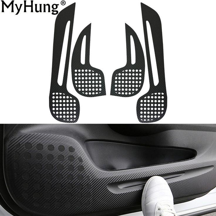 Car Door Sticker Pad For Honda CRV 2012 To 2016 Interior Door Protection Sticker Carbon Fiber 4Pcs Car-Styling Accessories