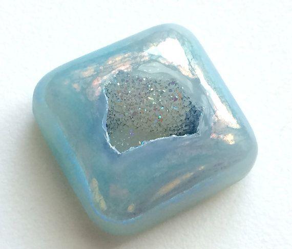 Blue Square Window Druzy 1 pc 29mm Huge Blue by gemsforjewels