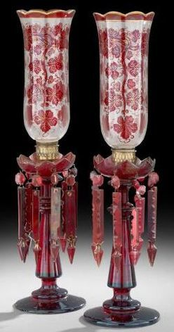 Hurricane Lamp (2); Bohemian, Cranberry Glass, Decorated Clear Shade, Cranberry Prisms, 23 inch.