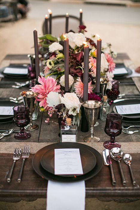 Aubergine & Blush / Rustic Tabletop / Letterpress Menu / Petite Glass Bottle Place Card / Bliss & Bone / Krista Jon Florals / Archive Rentals / Esoteric Events / Samuel Lippke Photography