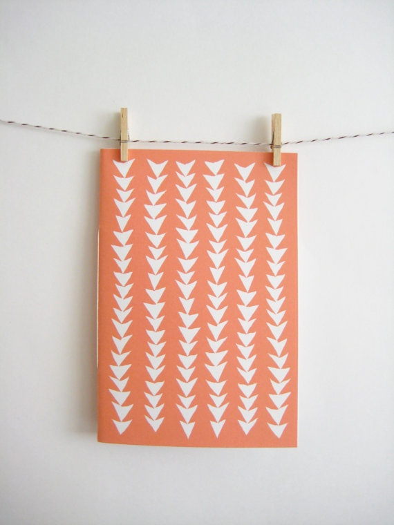 Patterned Notebook in Triangles  Peach by MintAfternoon on Etsy, $5.00