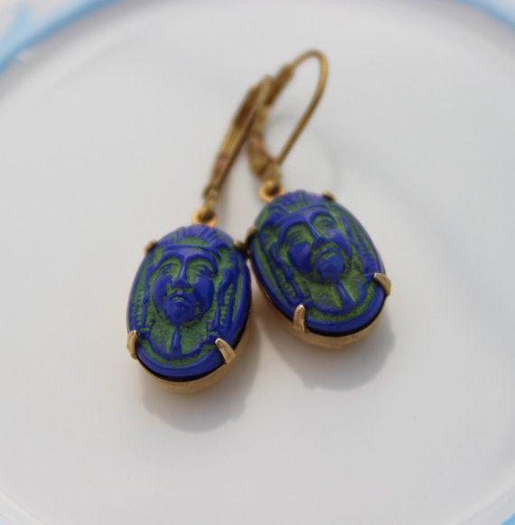 Boucle d'oreille Egypte, boucle d'oreille camée, bijoux égyptien, boucles d'oreilles égyptiens, Pharaon égyptien Vintage boucles d'oreilles camée, boucle d'oreille camée égyptien EBC5