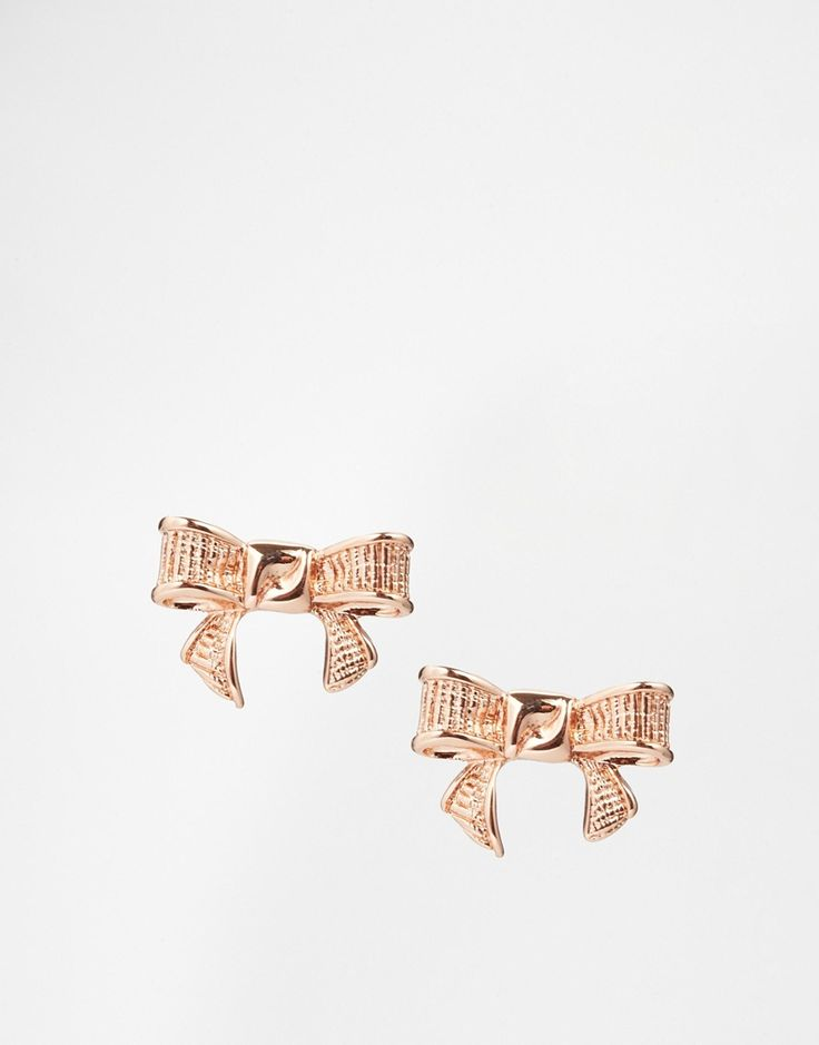 Rose Gold Bow Earrings