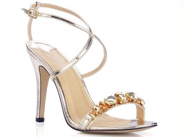 Perfeito!!!  Barato Sapatos da dama de honra de ouro de diamante saltos altos mulheres sexy sapatos de noiva do casamento sapatos de noite Prom Shoes sandálias de verão de moda vestido, Compro Qualidade Sandálias diretamente de fornecedores da China:      Bem-vindo à nossa loja                   Descrição:            Cor:  Silver, Gold            Toe
