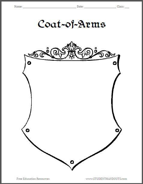 Coat Of Arms Template Worksheet 3
