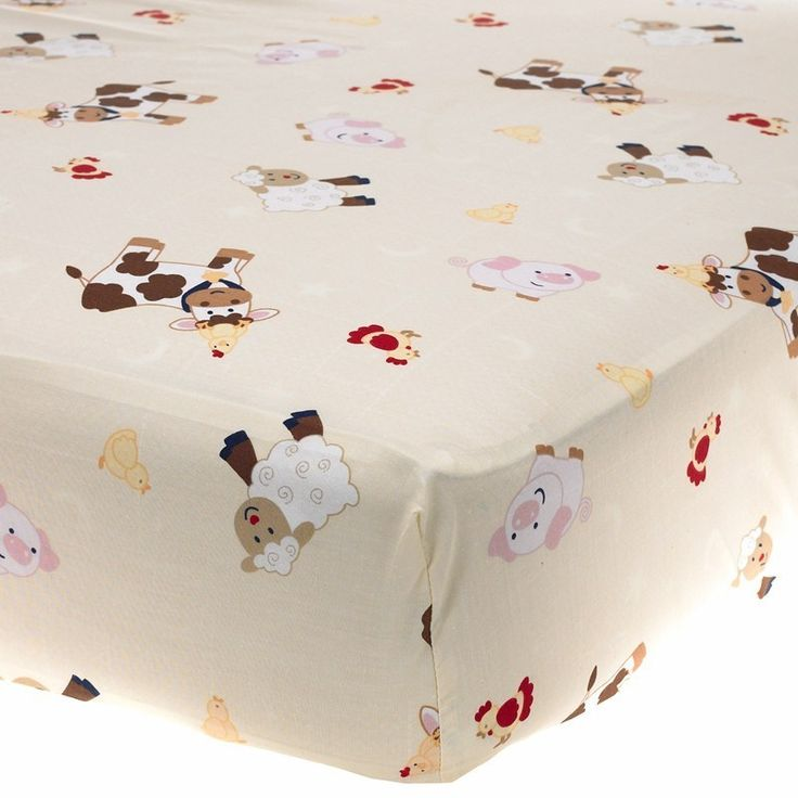 NoJo Farm Babies Fitted Sheet Crib Bedding - Barn Animal Sheep Cows Pigs Horses