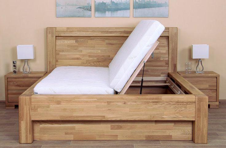 Luxusná dubová posteľ IMPERIA s Úložným priestorom a LR Bočný výklop.