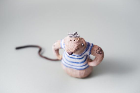 "Ceramic – Stoneware Sculpture ""Cousin Peter"" Mouse – a unique product by AnaBossa on DaWanda"