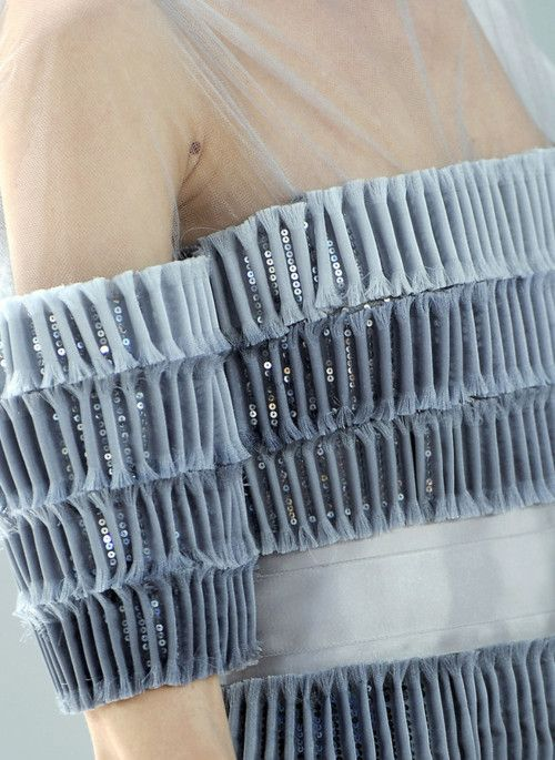 Closeup Dress Detail: Sequins & Rolls - elegant textures through manipulation of fabric // Chanel #details