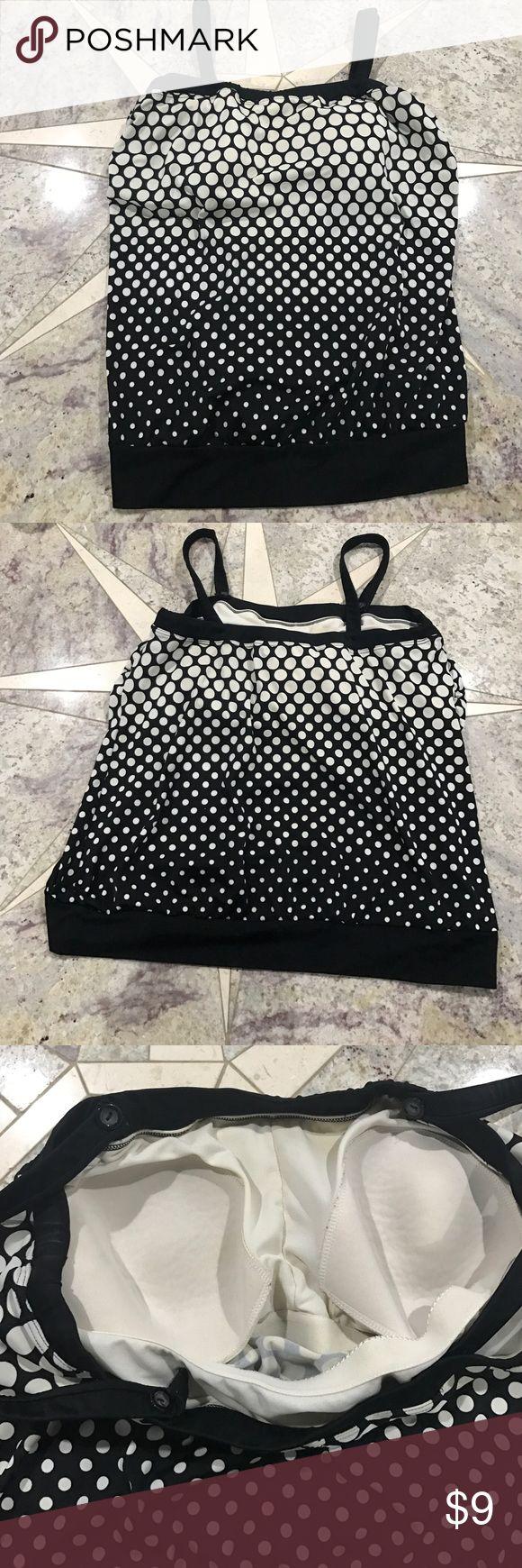 Black and White Polka Dot Tankini Top 🖤 Black and White Polka Dot Tankini Top 🖤 Merona Brand. Size 22W Merona Swim