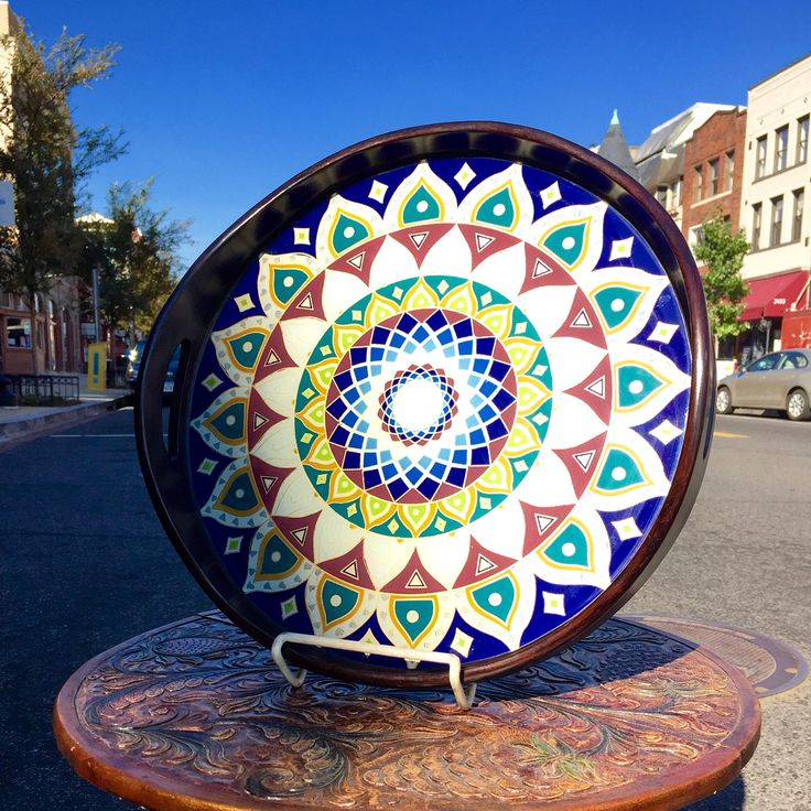 """Blue Moorish Tray"" - Reverse paint on glass, Cedar wood, 15"" diameter - handcrafted by A.Alejandro - $95"