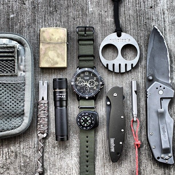 Now this is an everyday carry.  Knife, watch, compass, whistle, lighter, flashlight, metal tool with paracord... all good!