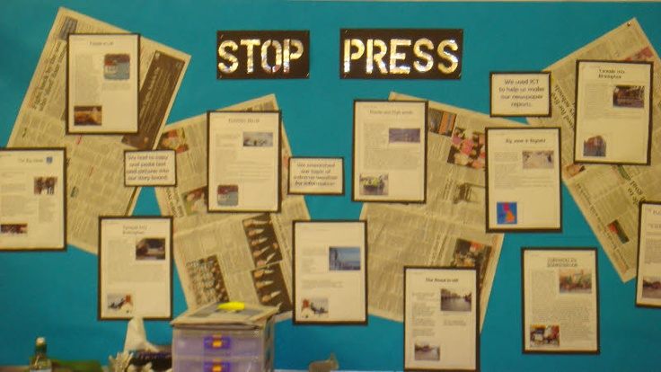 """Stop Press"" or ""Books in the News"" are ideas for a title for a bulletin board display featuring your students newspaper book report projects."