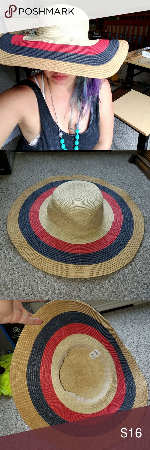 Giant floppy sun hat straw EC So Glamorous!! Perfect for this summer and in like new condition, very soft and flexible, extremely comfortable. Breathes well. Bought and worn twice last season. Colors are tan, red, and navy. Accessories Hats