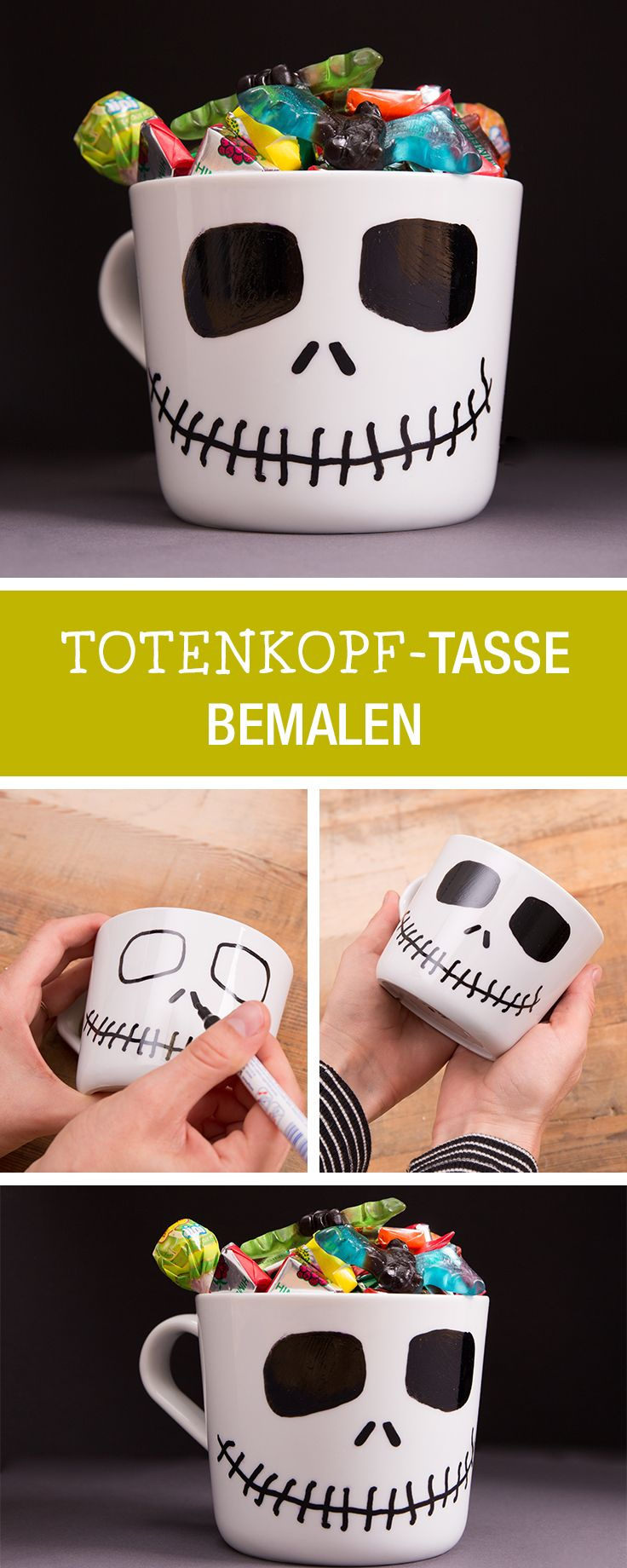Halloween-Deko selbermachen: Tasse als Totenkopf bemalen / halloween party: make your own decoration skull via DaWanda.com
