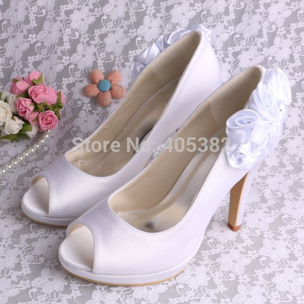 Handmade Fabric Flower Wholesale Shoes Womens Thin Heel White Satin Open Toes
