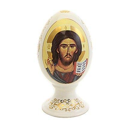 Decorative Egg with an Icon of Christ, $9.00. Catalog of St Elisabeth Convent. #CatalogofGoodDeed #egg #ceramic #gift #jesus #christ