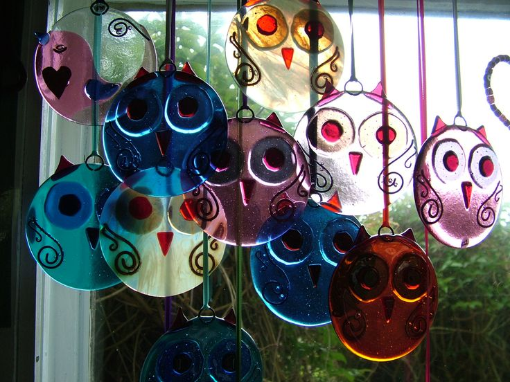 fused glass Owls