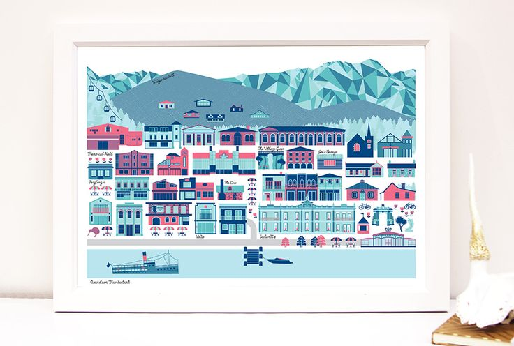 Queenstown New Zealand modern cityscape art print by Bridget Hall Design