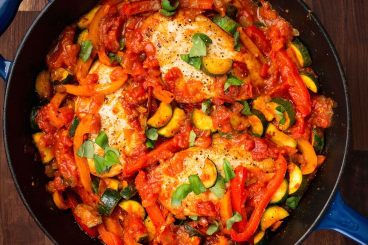 Italian Chicken Skillet- very yummy! Used fresh basil from my garden and served it over rice.
