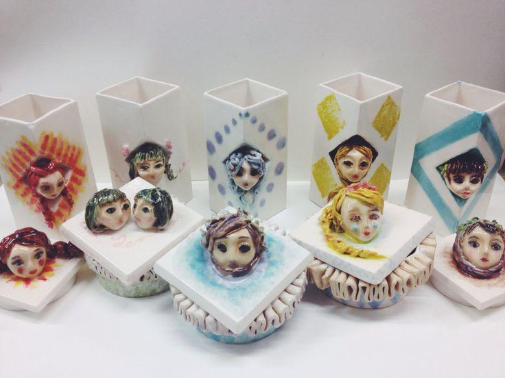 Figures, faces, ceramic, container, design, handmade