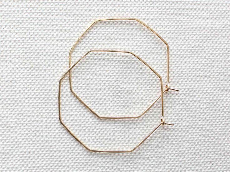 Geometric Hoop Earrings | Gold Hoop Earrings | Thin Gold Hoops | Silver Hoop Earrings [Hexis Earrings] by DavieAndChiyo607 on Etsy https://www.etsy.com/listing/209959785/geometric-hoop-earrings-gold-hoop