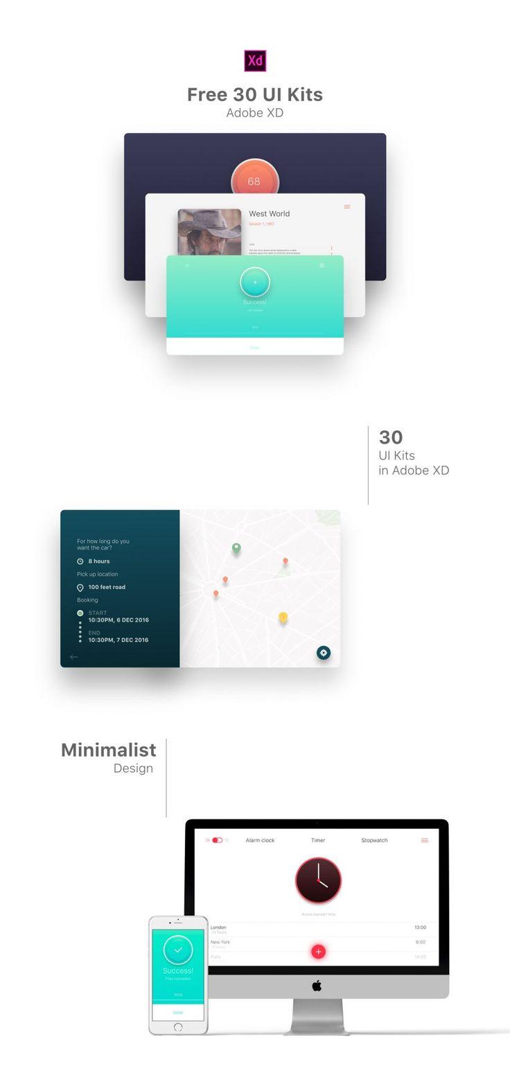 Free 30 UI Kits Adobe XD - Freebie