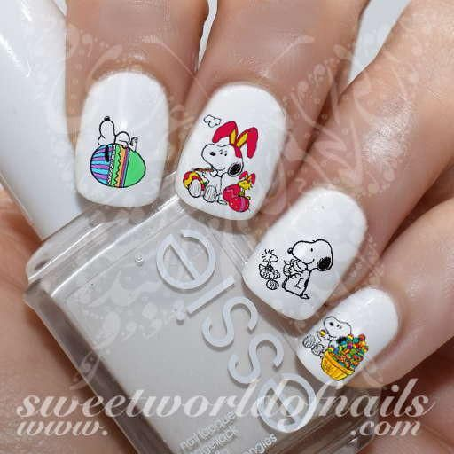 Easter Nail Art Snoopy Eggs Bunny Ears Nail Water Decals Water Slides