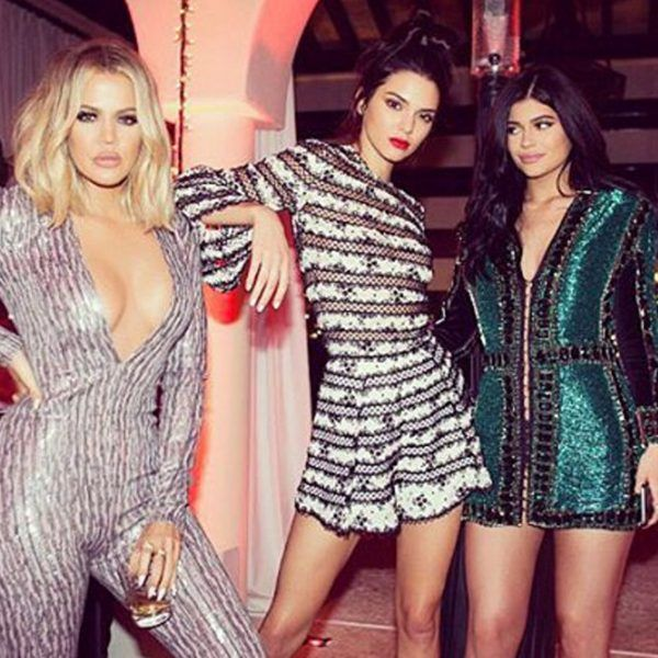 Khloe Kardashian, Kendall Jenner and Kylie Jenner from Kardashians' Christmas Eve 2015 Party | E! Online