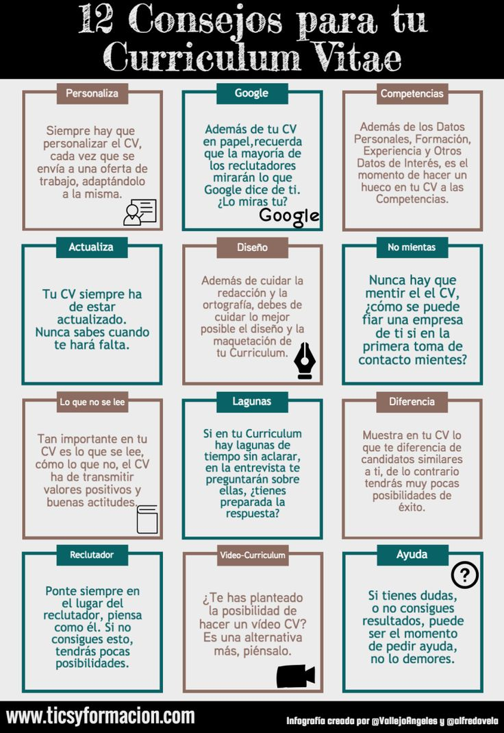12 consejos para tu Curriculum Vitae #infografia #infographic #empleo