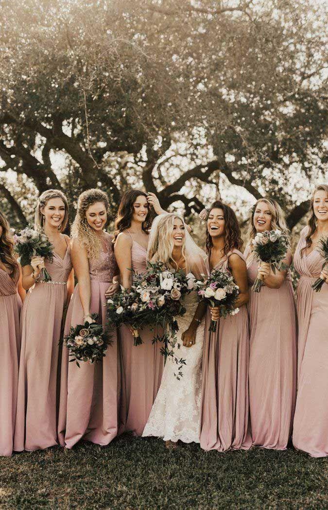 57 Rosa Brautjungfernkleider Verschiedene Schattierungen Von Bridesmaids Dresses In 2020 Altrosa Brautjungfernkleider Festliche Kleider Hochzeit Pinkfarbene Hochzeitskleider