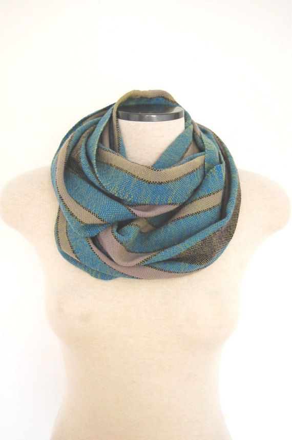 Hand Woven Infinity Scarf Wool Infinity by LocallySewnTextiles