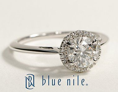 Halo Round Diamond Engagement Ring in Platinum #BlueNile