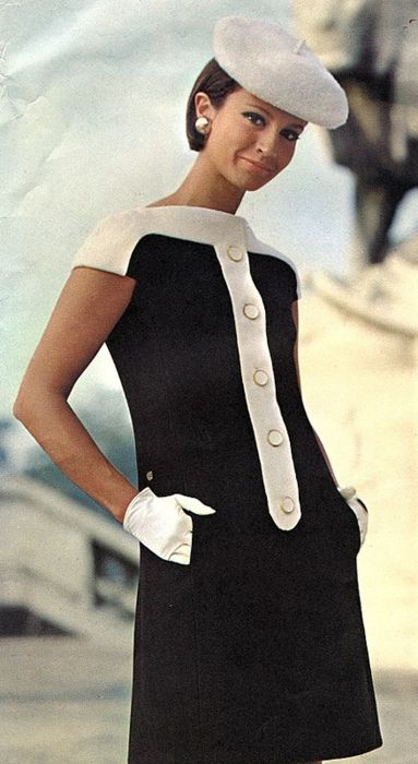 1968 #sixties 60s fashion vintage style black and white shift dress beret hat gloves short day casual modern mod audrey