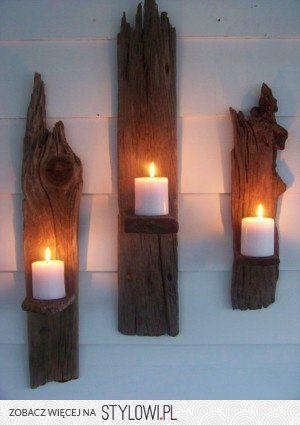 wood candle hanging