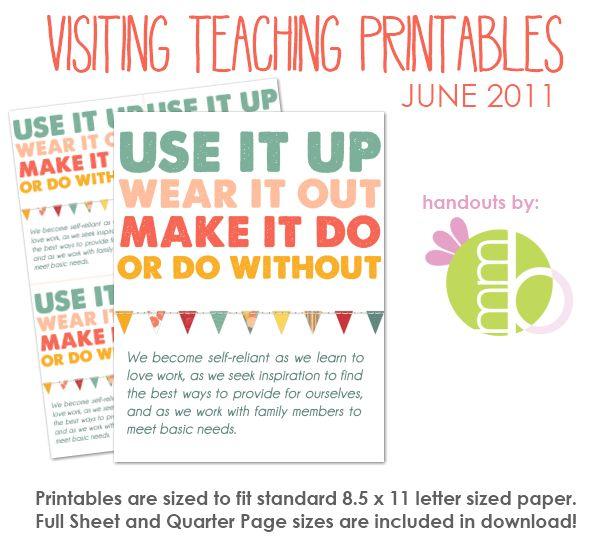Visiting Teaching Printables